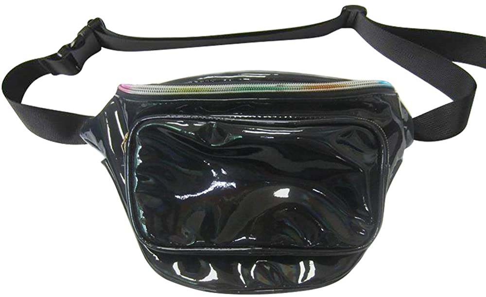 Women Laser Bag Waterproof Shiny Neon Fanny Pack Bum Bag Travel Purse