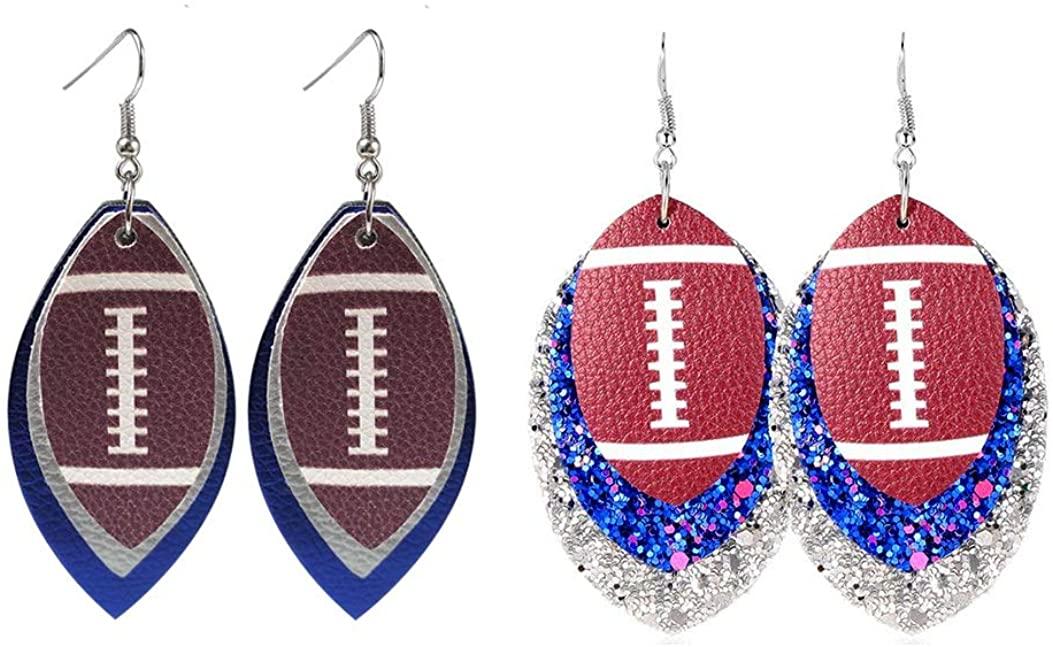 Leather Earrings Faux Leather Leaf Earrings Teardrop multilayer baseball for women and girls 2pcs