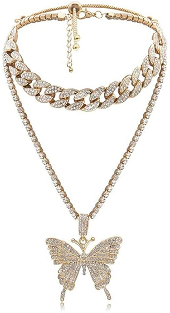 Statment Big Butterfly Cuban Link Necklace Set Iced Out with Bling Rhinestones Hip Hop Lovers Fashion Accessory Dainty Double Layer Necklace for Women Girls Jewelry