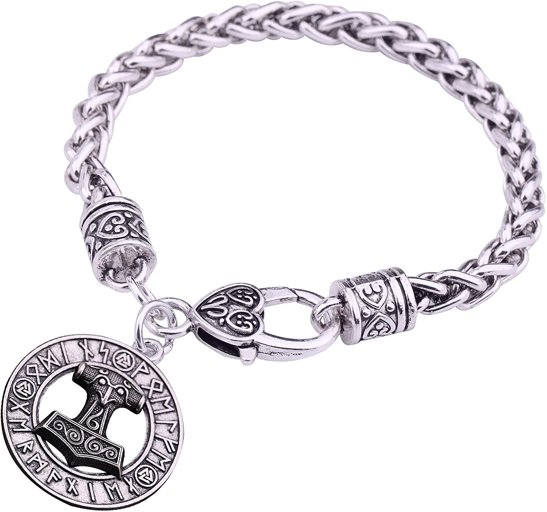 VASSAGO Vintage Norse Viking Runes Thor's Hammer Mjollnir Valknut Pendant Talisman Wheat Chain Bracelet