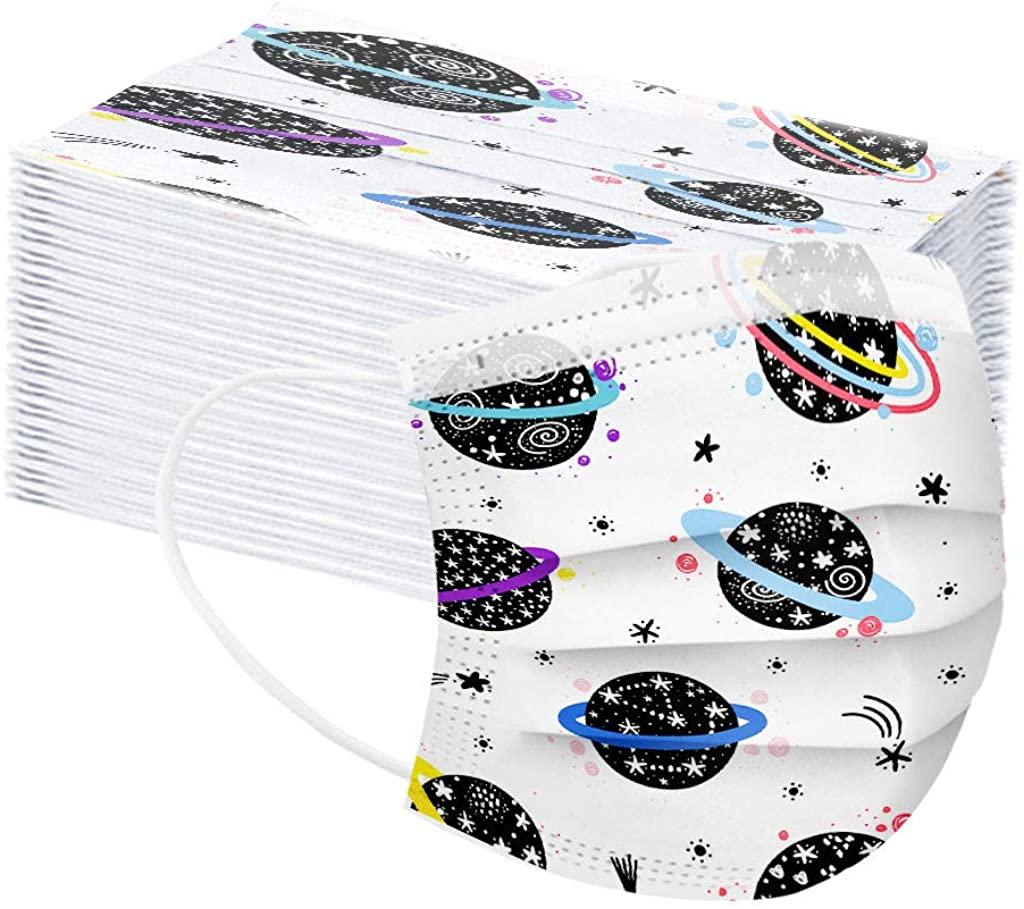 50PCS 3 Ply Non-Woven Children's Face Bandanas, Cartoon Bear Print Breathable Face Protection for Kids