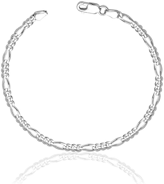 ELOISH Sleek Sterling Silver Bracelet. Sleek and Thin Pure 925 Silver Bracelet for Unisex.