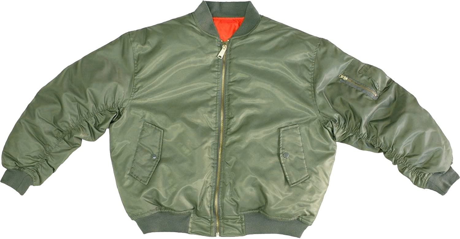 ARMYU Sage Green MA-1 Military Flight Jacket, Air Force Bomber Pilot Jacket + Red Streamer