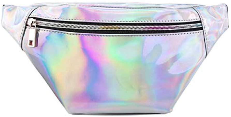 Women's holographic fanny pack Fashion Cute Fashion Waist Bag Belt Bags (Silver)