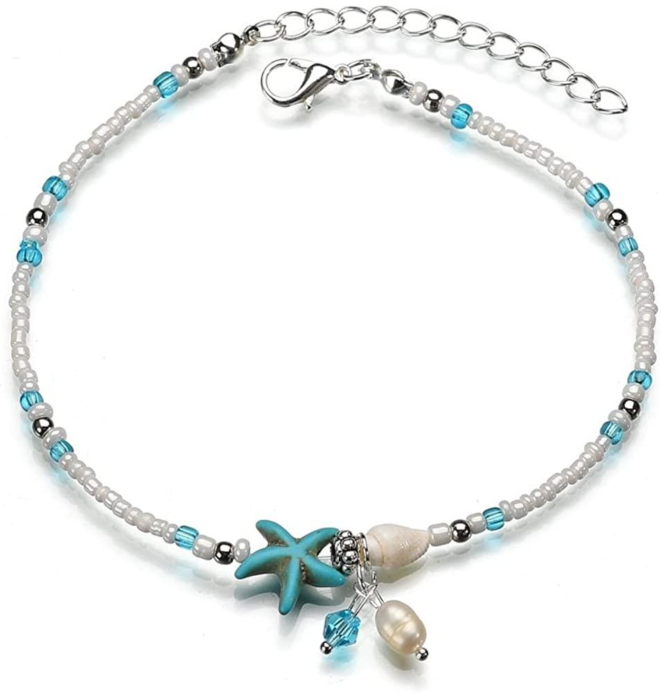 TATULAN Shell Starfish Anklet, Handmade Multilayer Charm Beaded Bracelets for Women Girls Gift, Bohemian Style Summer Beach Conch Foot Chain