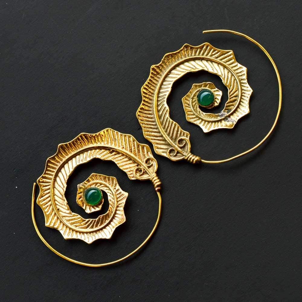 11.2 Gram Beautiful Designer Natural Green Onyx Earring Brass Gold Plated Handmade Jewelry Size 4.3x2.5 CM Earring Jewellery SM229