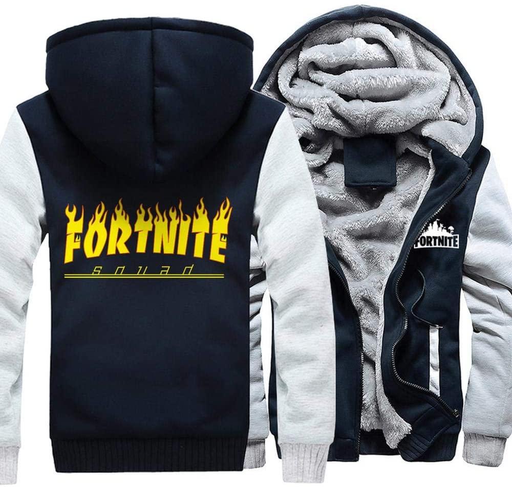Men's Fleece Jacket 3D Printed Cardigan Pad Fashion Hooded Sweater Winter Cardigan Coat A-XL