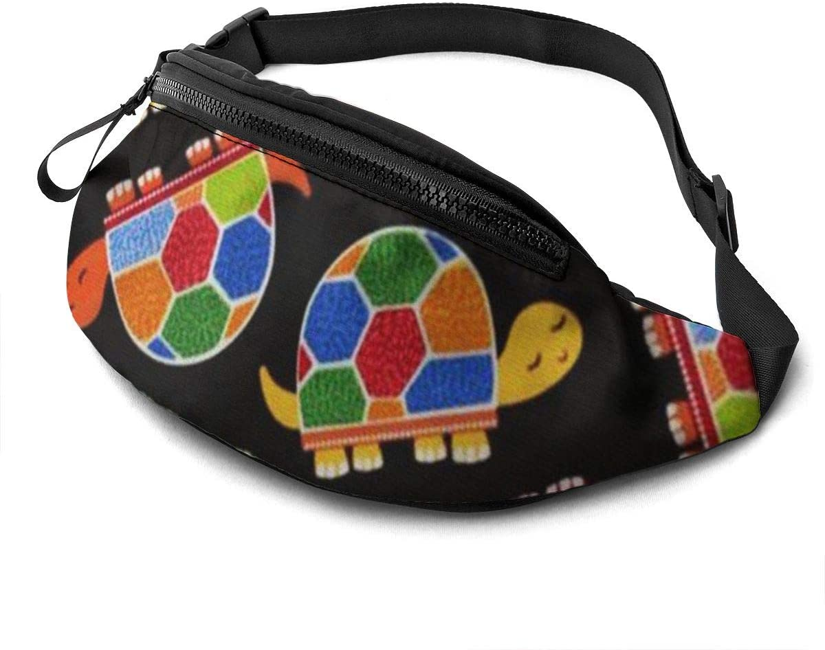 Colorful Tortoise Fanny Pack For Men Women Waist Pack Bag With Headphone Jack And Zipper Pockets Adjustable Straps