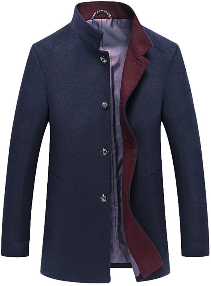 Mordenmiss Men's Wool Trench Coats Winter Warm Business Jacket Overcoat Outwear
