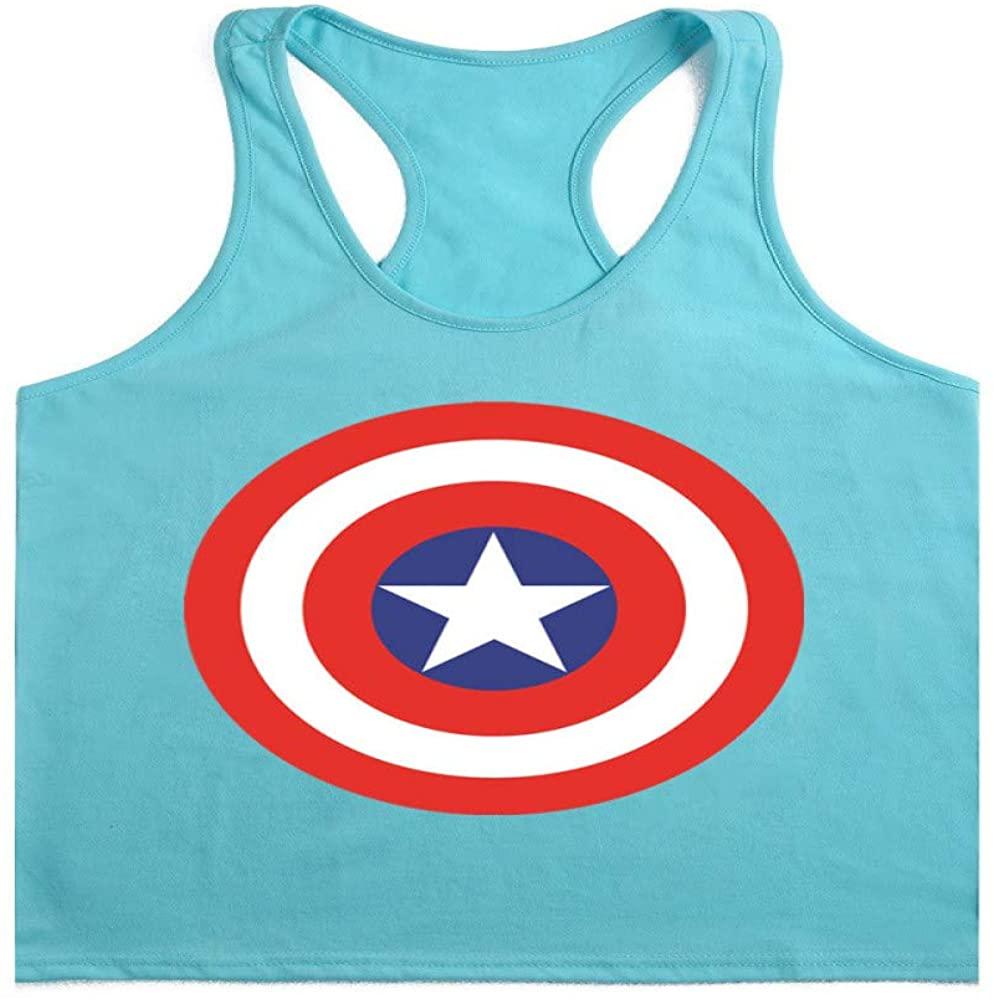HOSD Fitness Vest Cotton Summer Sweat Loose Exercise Lake Blue
