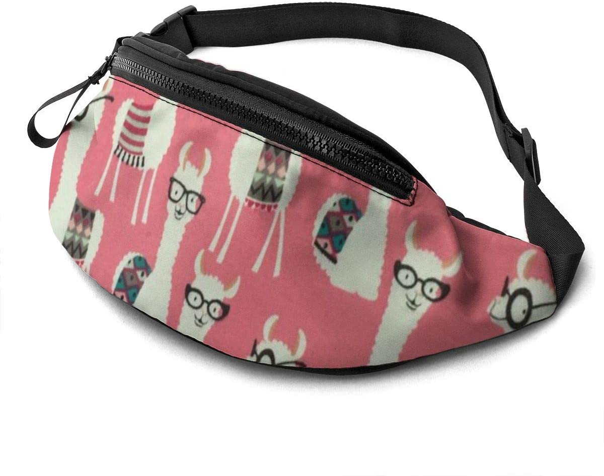 Funny Cute Glasses Llama Fanny Pack For Men Women Waist Pack Bag With Headphone Jack And Zipper Pockets Adjustable Straps
