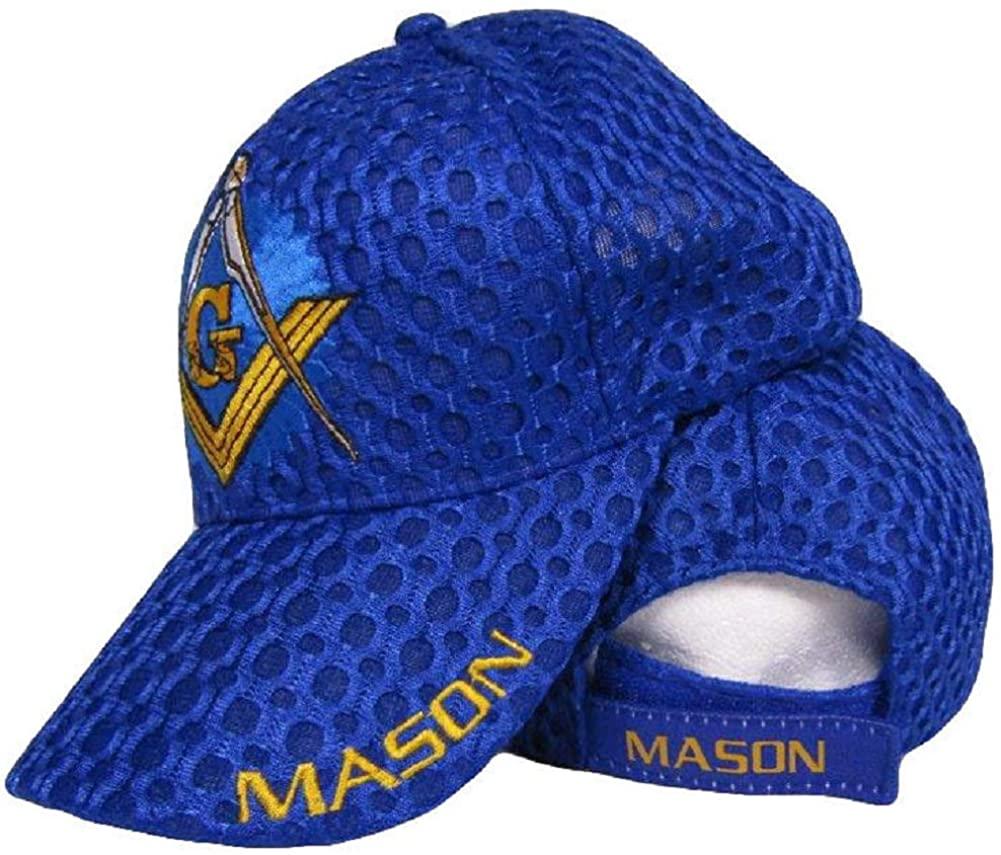 Mason Masons Freemason Masonic Lodge Royal Blue Shadow Mesh Texture Ball Cap Hat, Multi, One Size Fits Most
