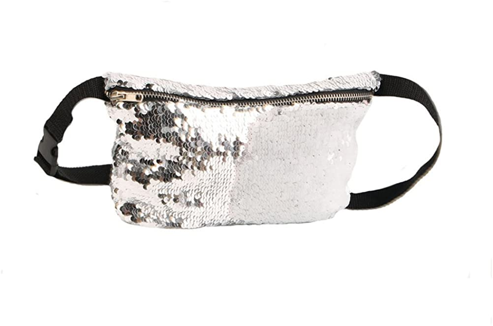 OULII Fashion Sequins Waist Bag Cosmetic Fanny Pack Casual Sports Waist Pouch