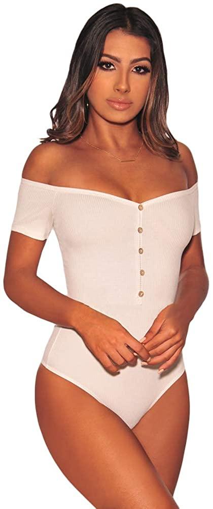 METERDE Womens Off Shoulder Rib Knit Sleep Bodysuit Summer Top