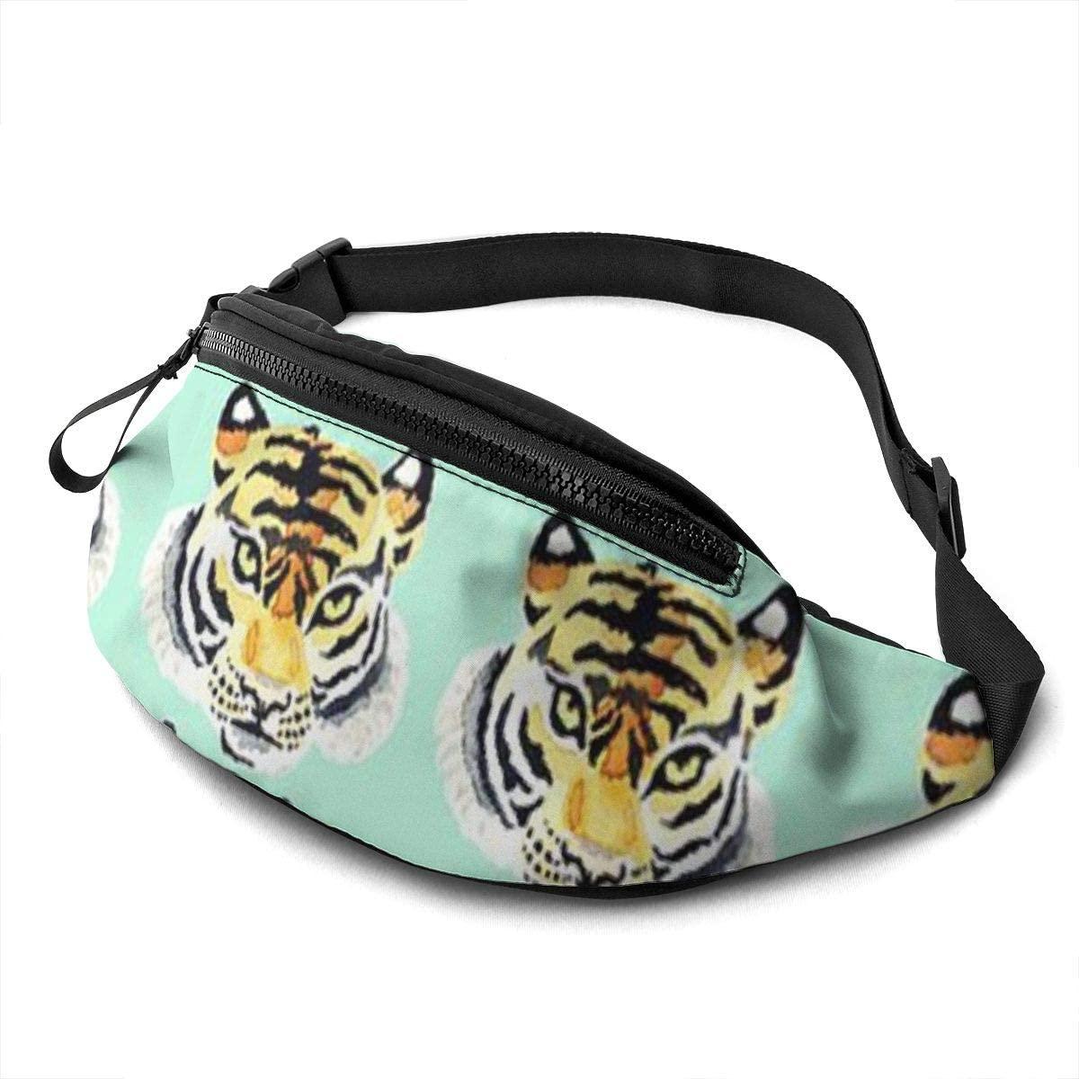 Tiger Pattern Fanny Pack For Men Women Waist Pack Bag With Headphone Jack And Zipper Pockets Adjustable Straps