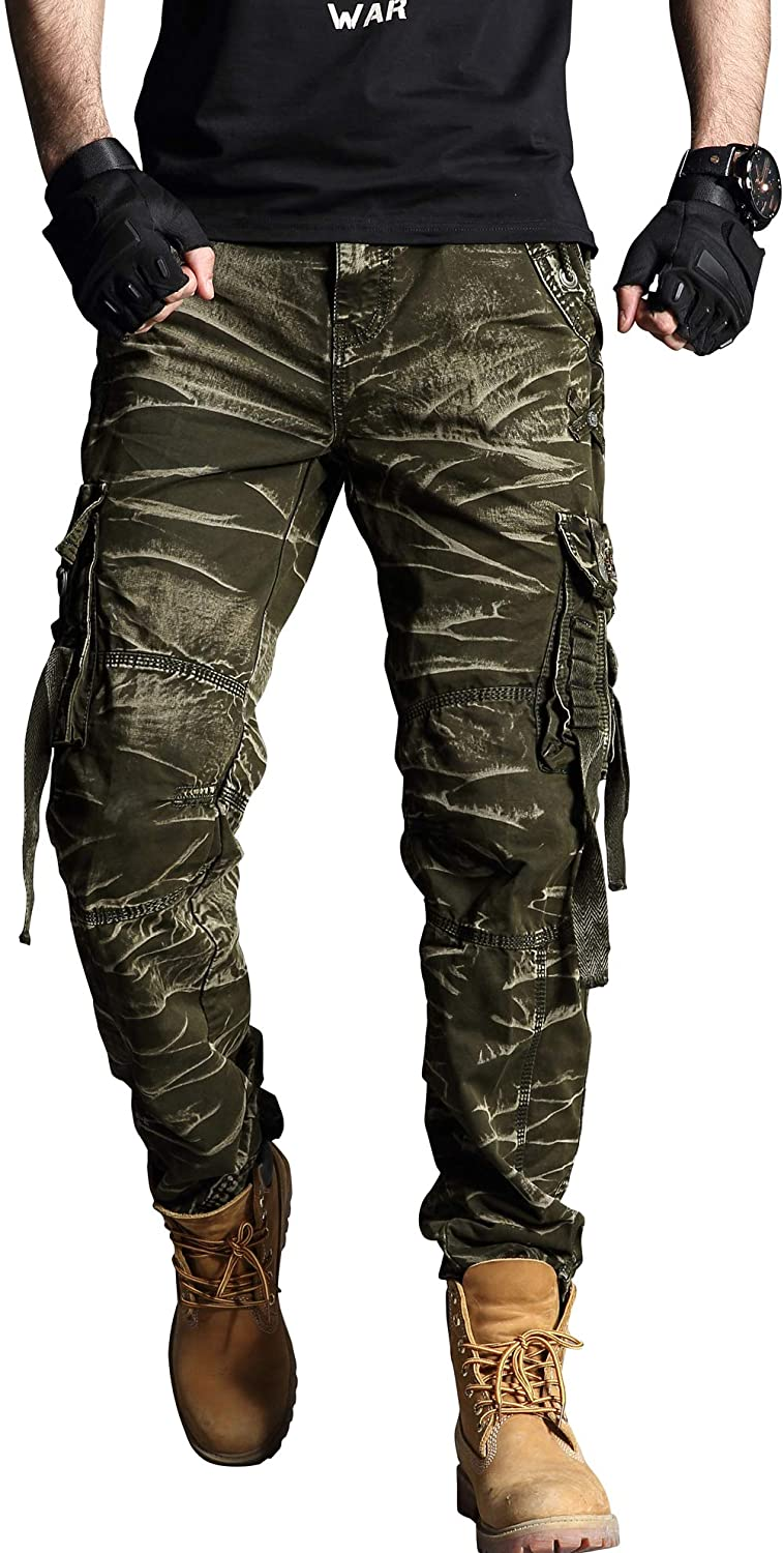 chouyatou Men's Outdoor Sports Multi Pocket Relaxed Fit Camouflage Dungaree Cargo Pant