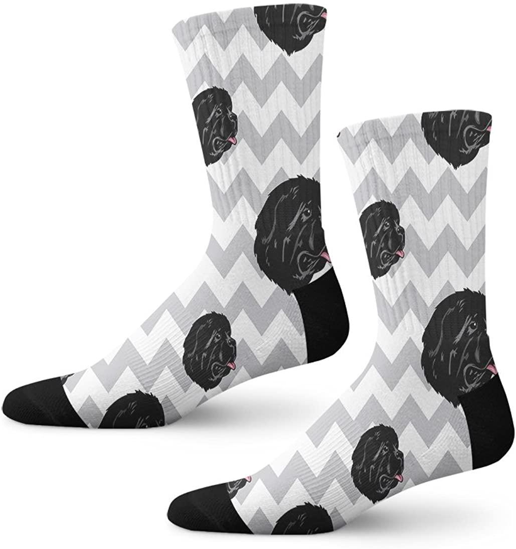Newfoundland Dog Gray Zigzag Novelty Cuff Crew Men Women Socks Large