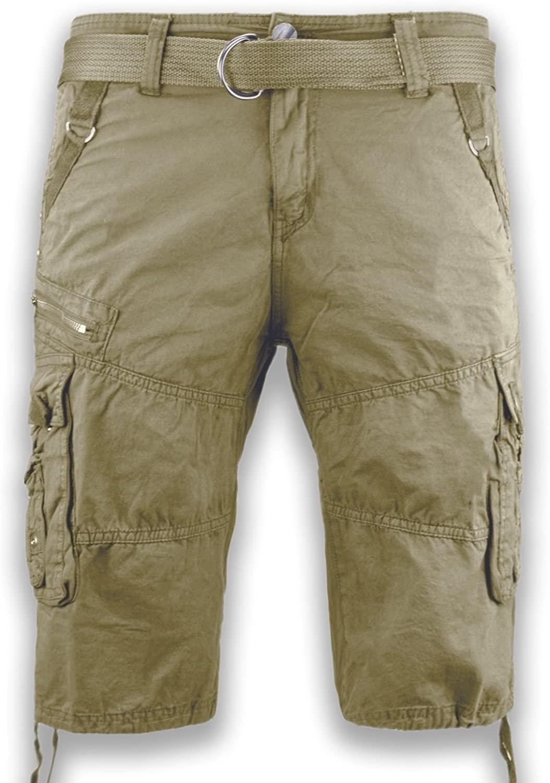 New Men Cargo Cotton Shorts Free Belt Drawstrings 8 Colors Side Zipper