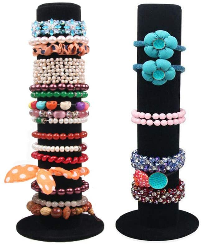 Papinimo 2 Pack Black Velvet Jewelry Organizer Displays Bracelets Watches Hair Scrunchies Stand Bangle T-Bar Hairband Rack Holder Organizer Tower