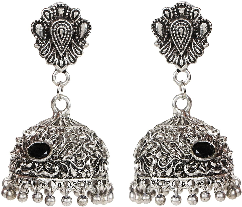 Sansar India Oxidized Beaded Jhumka Jhumki Indian Earrings Jewelry for Girls and Women 1560