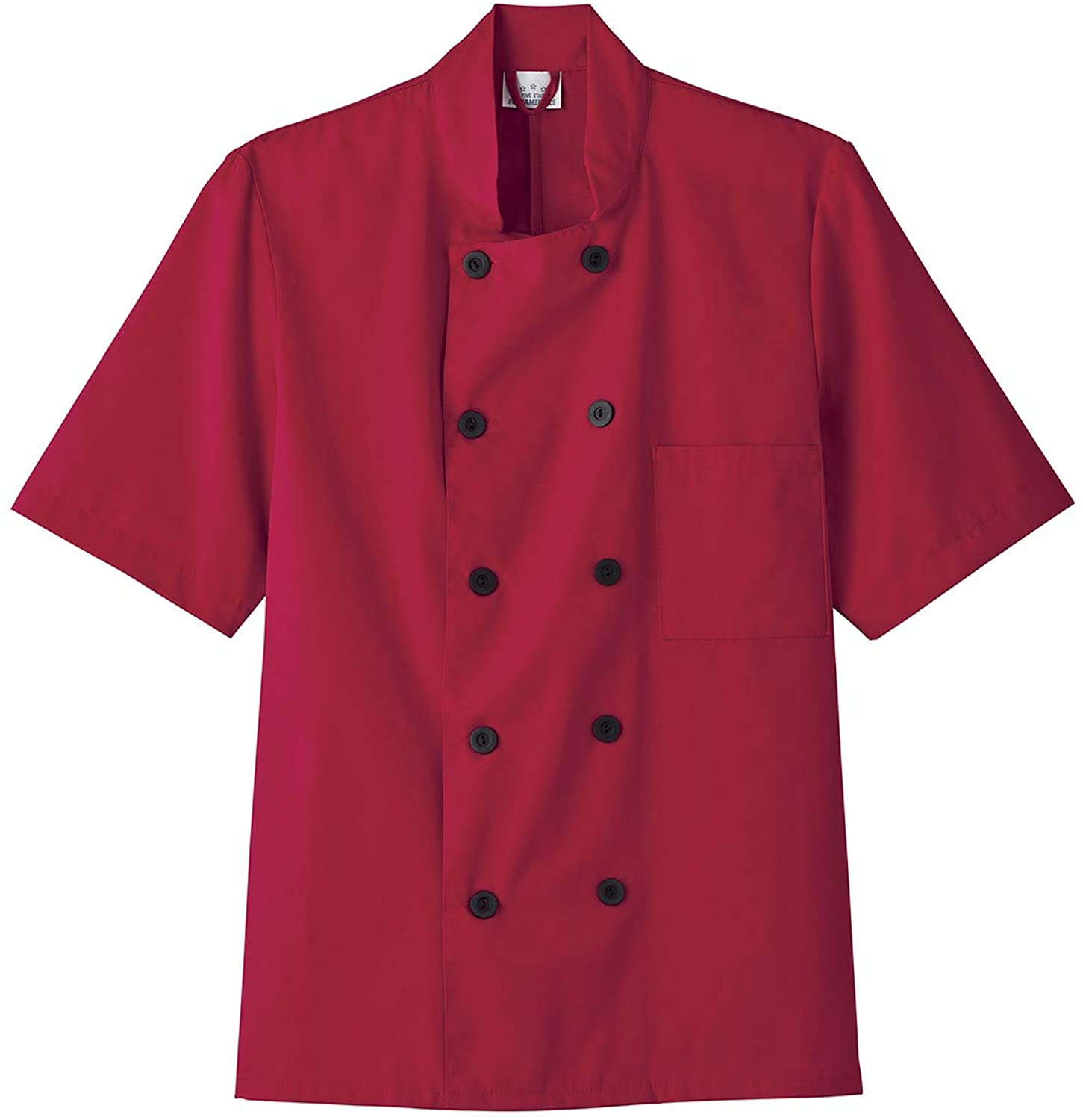 Five Star 18001/18025 Unisex Short Sleeve Chef Coat Red 3XL