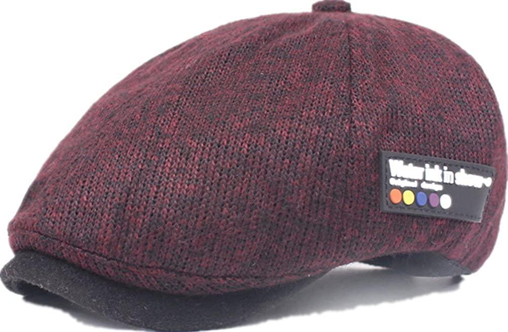 DaShanRen Mens Classic newsboy IVY Warm Knitted Hat Wool Stitching Flat Cap