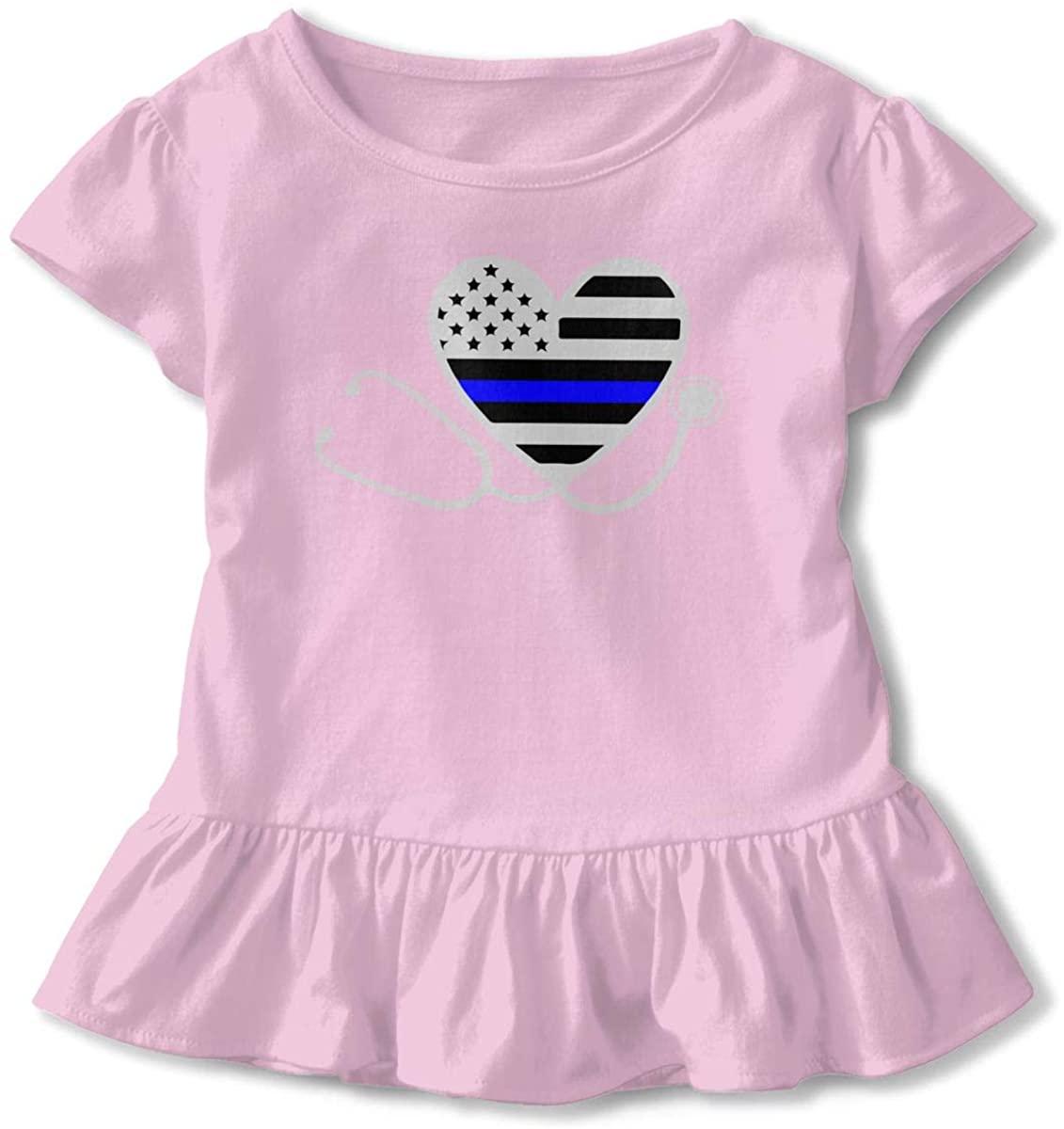 EASON-G Toddler Girl's Ruffle T-Shirt Nurses Police Wife Thin Blue Line Flag Short Sleeve 2-6T
