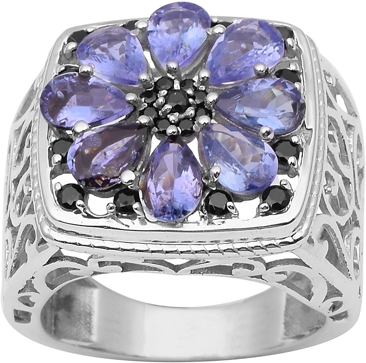 925 Sterling Silver Tanzanite & Black Spinel Cluster Statement Solitaire Filigree Wedding Rings for