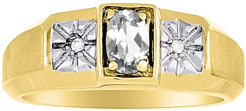 Diamond & White Topaz Ring 14K Yellow or 14K White Gold