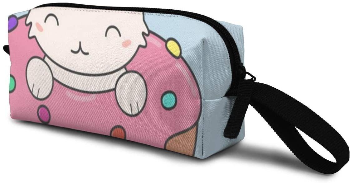 T-JH Doughnut Cat Mini Makeup Bag,Portable Cosmetic Bag,Organizer,Toiletry Handbag,Sewing Kit,Storage Pouch for Women Purse