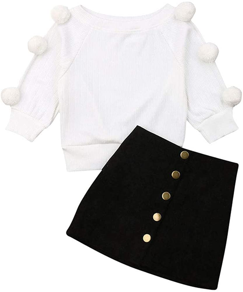 1-6T Little Girl Fall Outfits Set Long Sleeve White Knit Top with Hairball & Black A-Line Skirt Girls Clothes