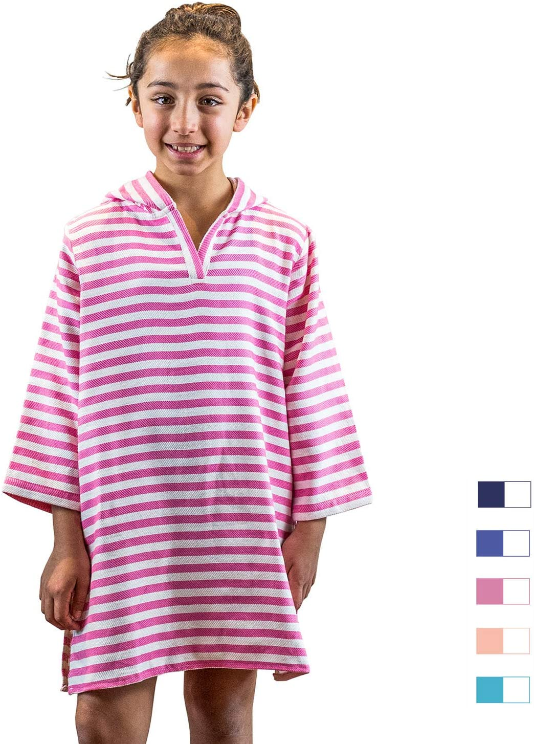 SAMMIMIS Kids Hooded Towel Cover Up, 100% Turkish Cotton, Premium Quality S Pink/White
