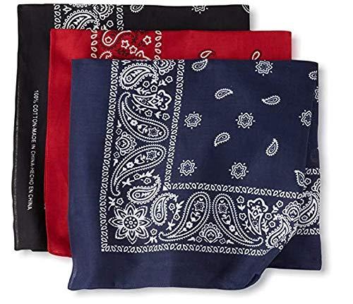 100% Cotton Bandanas for Men & Women - Paisley Bandana - Head Wrap, Scarf 3PACK