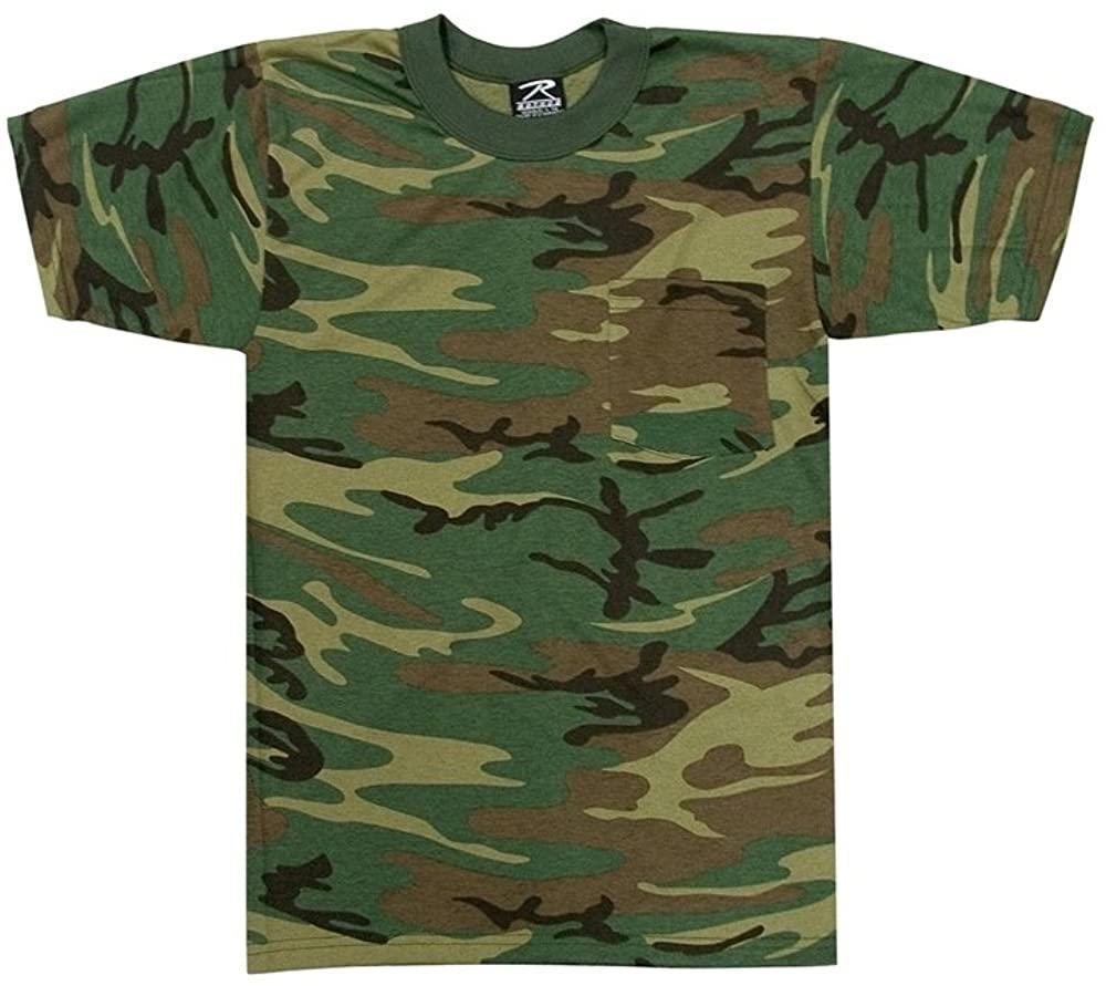 Woodland Camouflage Short Sleeve T-Shirt w/ Pocket, Medium