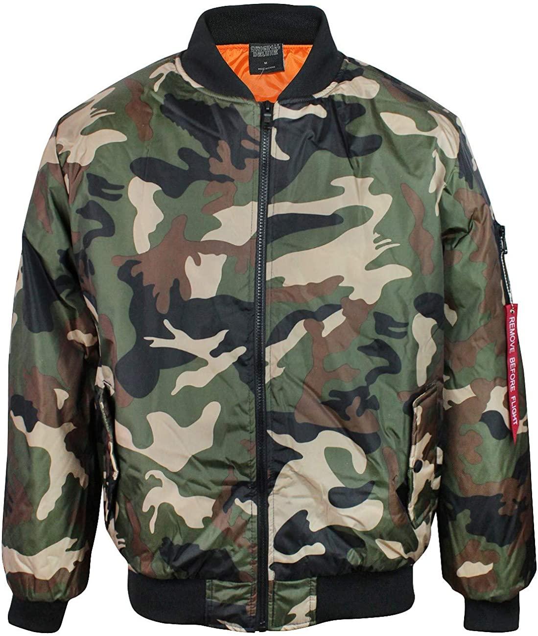 Original Deluxe Men's Zip Up Military Pilot Army Bomber Jacket