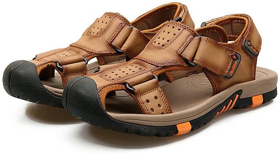 MSMIRROR Men Genuine Leather Sandals Fashion Slippers Male Summer Beach Shoes Sandals