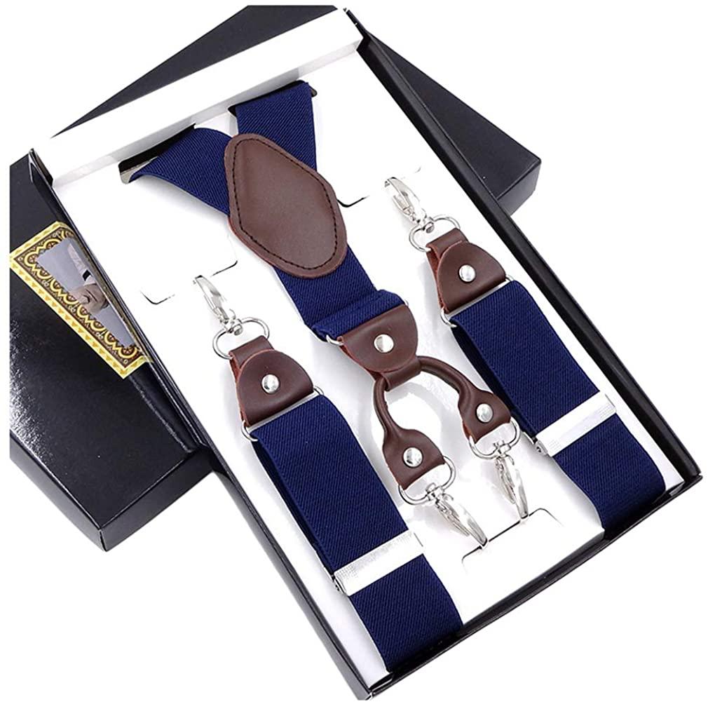 AYOSUSH 4 Swivel Hook Suspenders for Men Heavy Duty with Belt Hooks Y Shape Gift