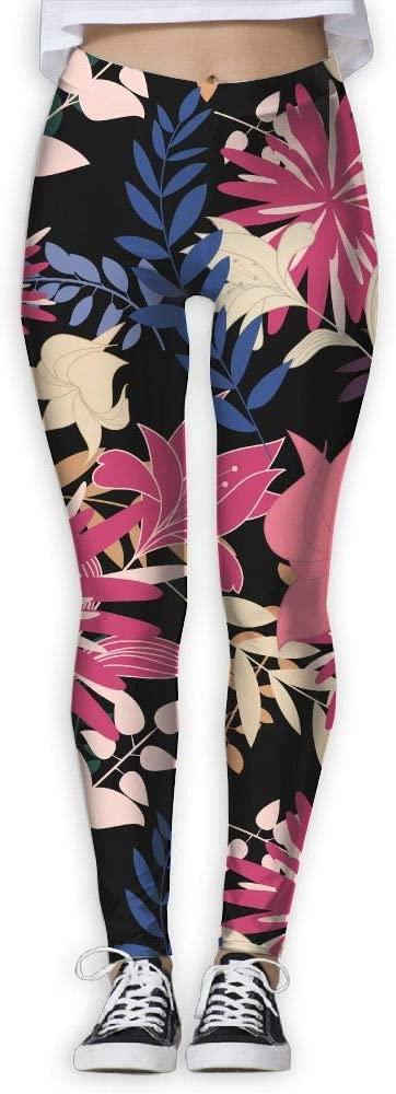 MASDUIH Flower Pattern Womans Yoga Jogger Sweatpants High Waist Skinny Leggings