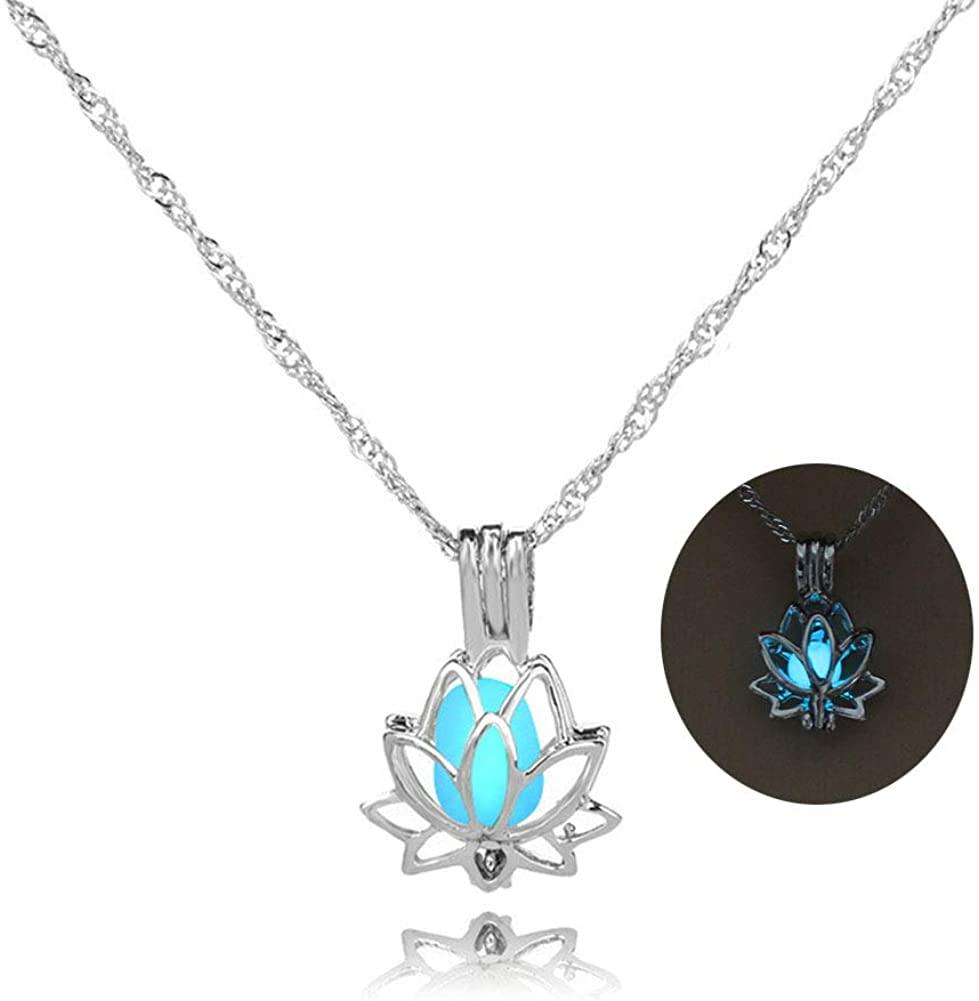 Luminous Lotus Pendant Necklace, Hollow Flower Lockets Necklace
