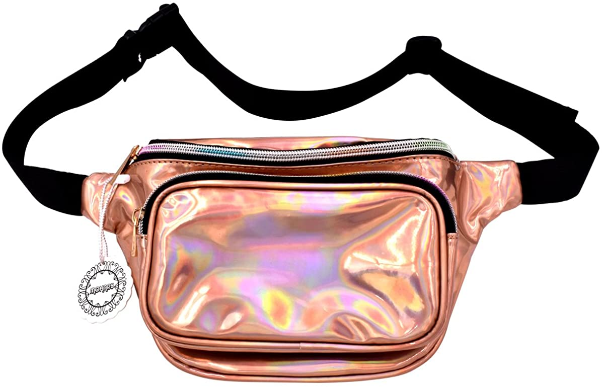 Water Resistant Shiny Neon Fanny Bag for Women Rave Festival Hologram Bum Travel Purse Waist Pack