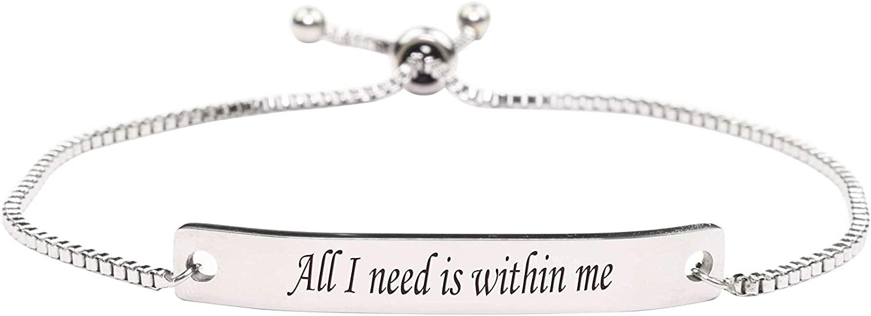 Pink Box Fully Adjustable Inspirational Slider Bracelet - All I Need - Silver -