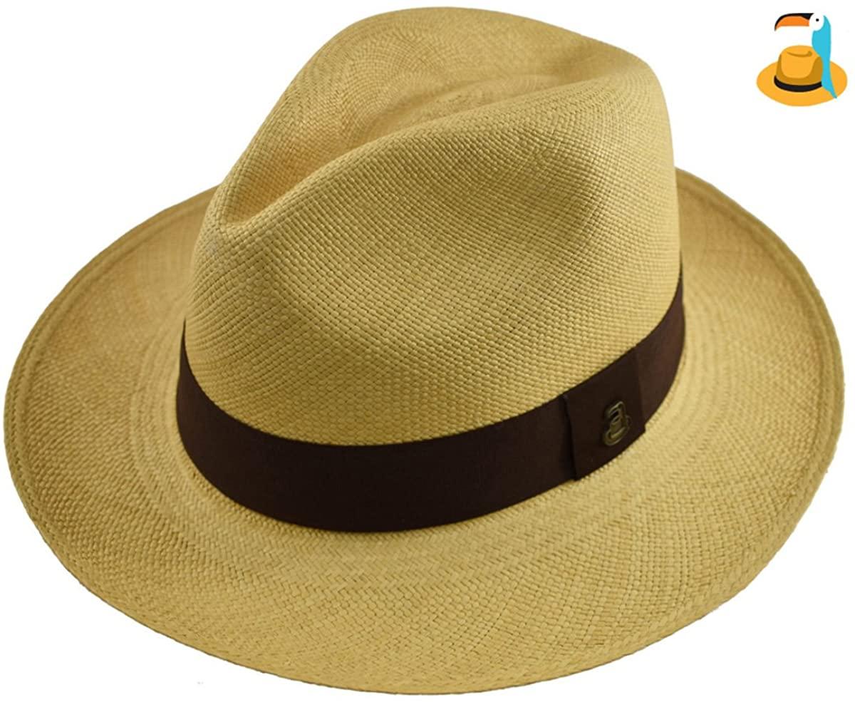 Original Panama Hat - Beige Classic Fedora - Brown Band - Toquilla Straw - Handmade in Ecuador by Ecua-Andino