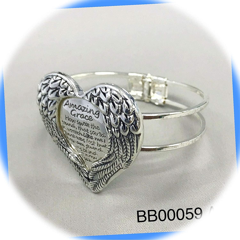 New Amazing Grace Silver Tone Color Finish Angel Wings Design Message Pendant Cuff Bracelet ALI-B1026T Wonderful Art Gift for Women Girls Charm Bracelet by InnaBest