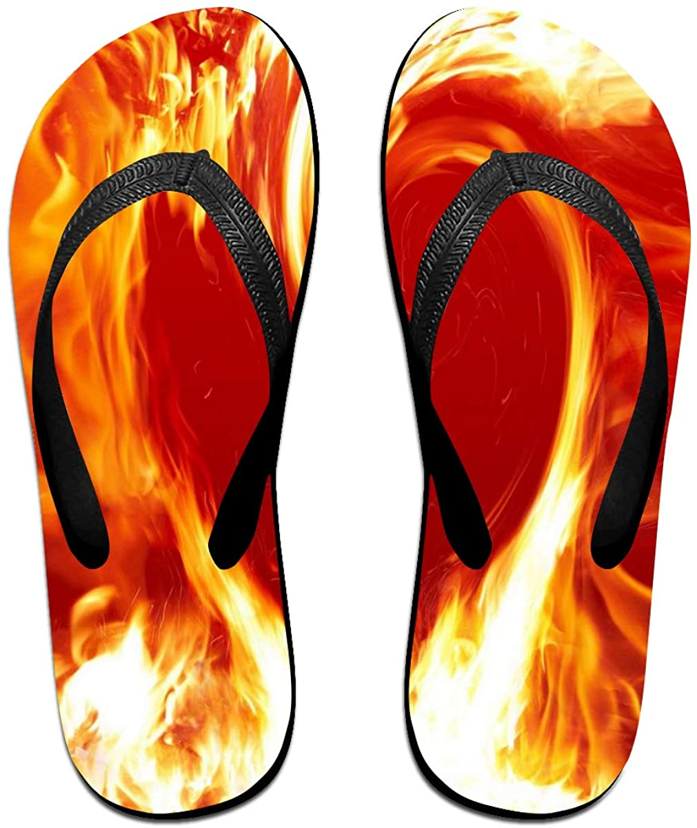 Mens Flip Flop Slippers Love Fire Heart Rubber Comfy Flip Flops Outdoor Beach Sandals