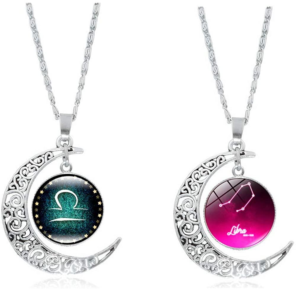 CHUYUN Silver Horoscope Zodiac 12 Constellation Astrology Galaxy & Crescent Moon Glass Bead Pendant Necklace