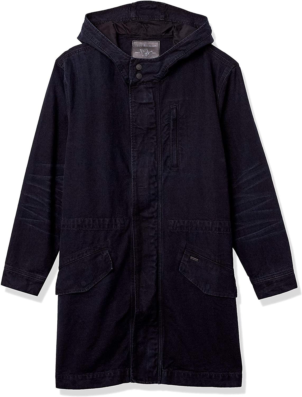 True Religion Men's Denim Hooded Anorak Jacket