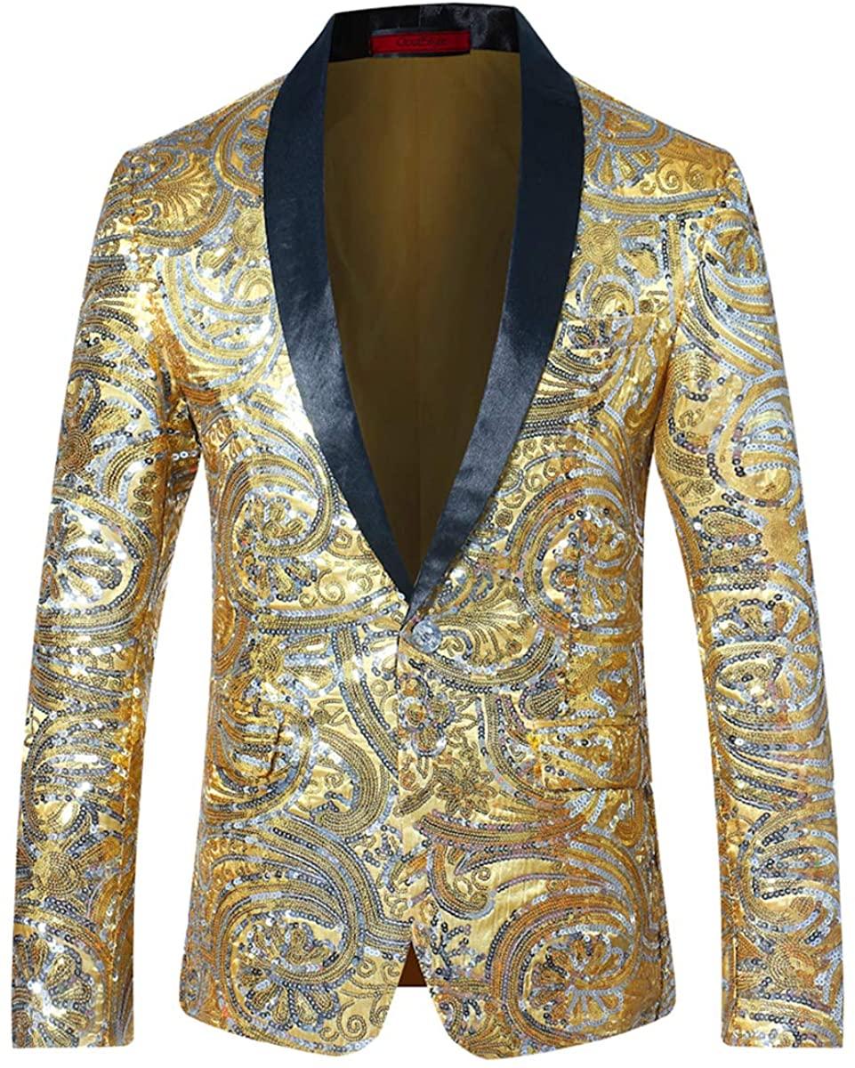Mens Slim Fit Blazer 1 Button Shawl Lapel Wedding Formal Suit Sport Jacket