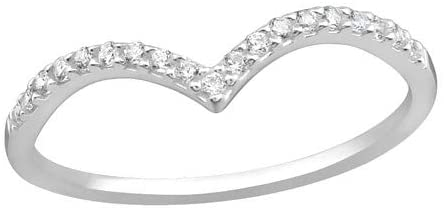 Caratera V Shaped Jeweled Rings 925 Sterling Silver