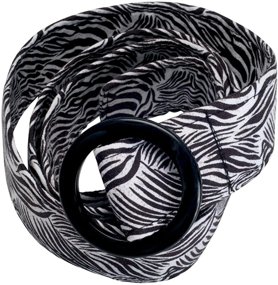 Animal World - Zebra Pattern Belt With Fashion Buckle Black