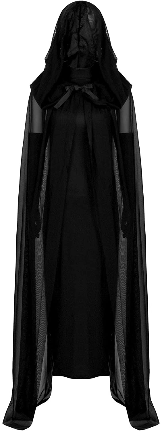 Freebily Womens Halloween Witch Cosplay Costumes Sleeveless Fancy Dress Long Hooded Cape
